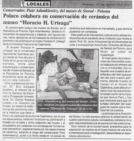 Artykuł w prasie peruwiańskiej o moim pobycie i wolontariacie w muzeum w Cajamarce. 2001r