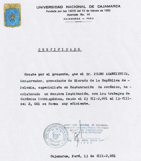 I Certyfikat od Peruwiańskiego Uniwersytetu Narodowego w Cajamarce. 2001 r.