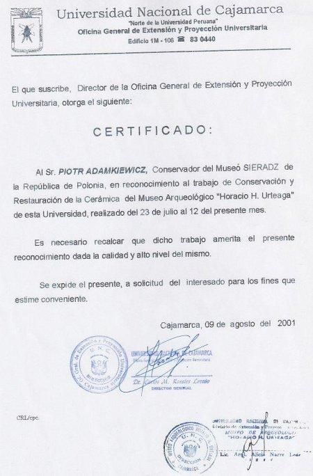 II Certyfikat od Peruwiańskiego Uniwersytetu Narodowego w Cajamarca. 2001 r.