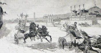 Rycina wyobrażająca wyścig rydwanów zorganizowany podczas uroczystości w Pompejach w 1884 roku