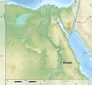 Asuan, przybliżona lokalizacja