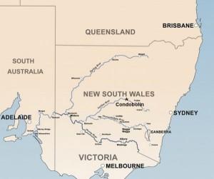 Mapa Nowej Południowej Walii z zaznaczonymi głównymi rzekami. Źródło zdjęcie na licencji Creative Commons, autor Bidgee