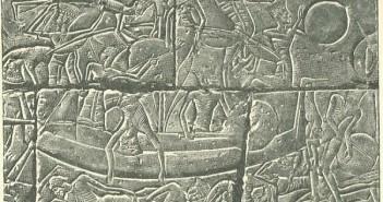 Relief z Medinet Habu przedstawiający filistyński okręt wojenny.