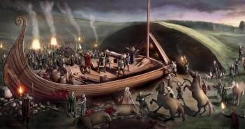 Wizualnizacja rytuały pogrzebowego w Oseberg - Rys. za tb.no. Królowa z marihuaną na łodzi z Oseberg