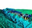 Ryc.3 Wizualizacja pomiarów podatności magnetycznej powierzchni gruntu nałożona na Numeryczny Model Terenu (NMT) - wyk. P. Wroniecki